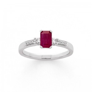 Bague Rubis 0,74 Carat et Diamants 0,11 Carat Or blanc