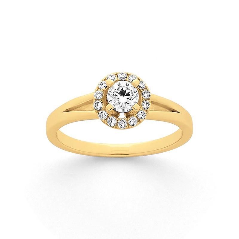 Solitaire Diamant 0,15 Carat H SI 4 griffes entourage 0,12 Carat Or jaune