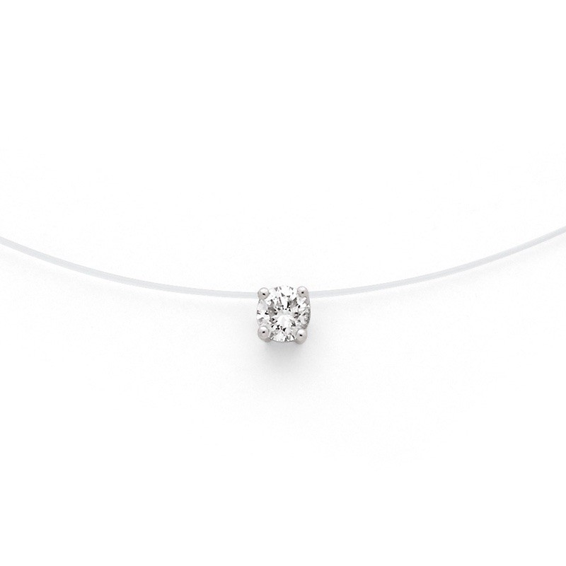 Pendentif Diamant 0,20 Carat G SI 4 griffes Fil nylon Or blanc