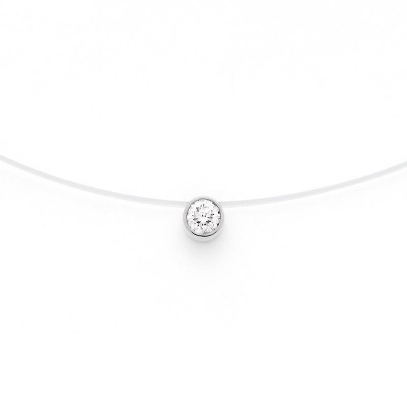 Pendentif diamant 0,18 Carat G VS serti clos sur fil nylon Or blanc