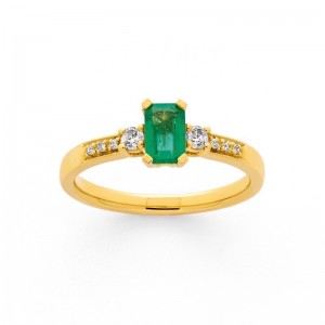 Bague Emeraudes 0,46 Carat et Diamants 0,11 Carat H P1 Or jaune