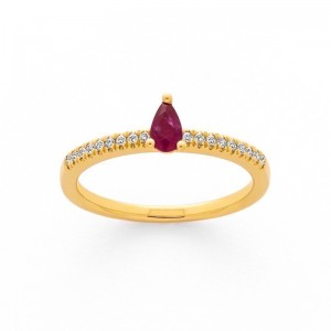 Bague Rubis 0,22 Carat et Diamants 0,09 Carat H P1 Or jaune