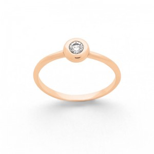 Solitaire Diamant 0,12 Carat G SI serti clos Or rose