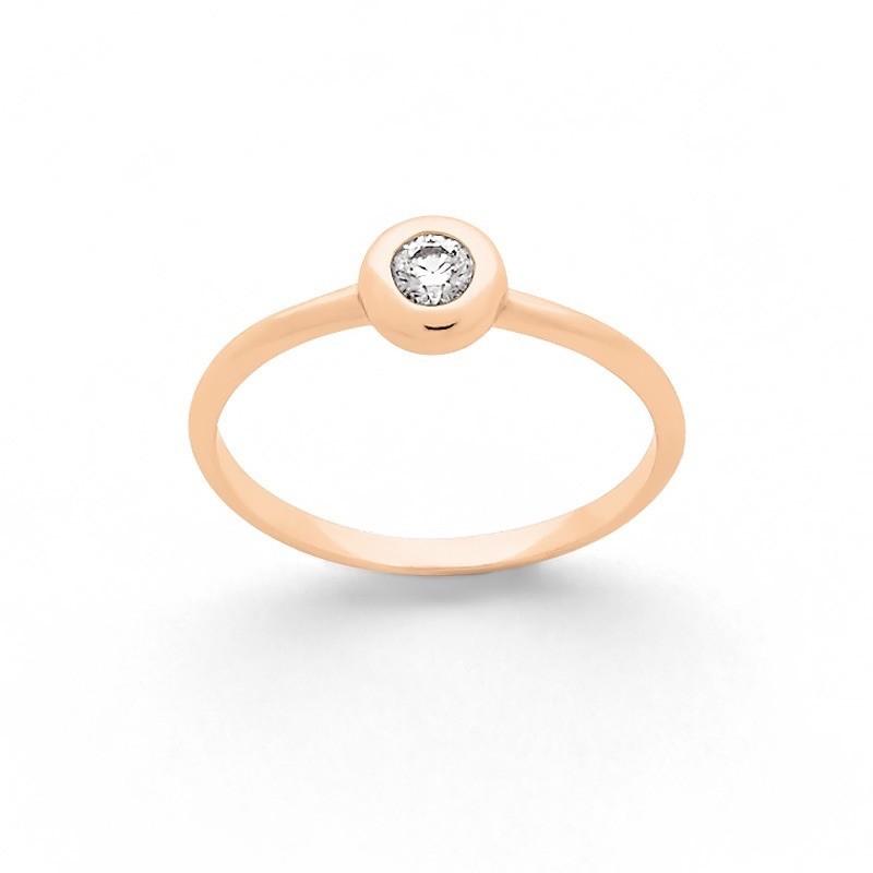 Solitaire Diamant 0,12 Carat G SI serti clos Or rose