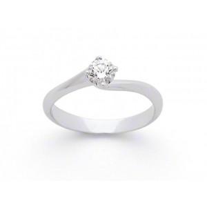 Solitaire Diamant 0,21 Carat F VS 4 griffes tourbillon Or blanc