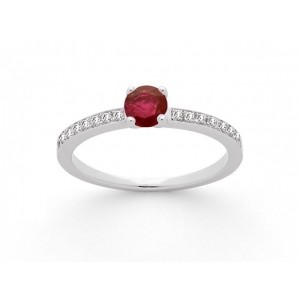 Bague Rubis 0,39 Carat et Diamants 0,14 Carat G VS 4 griffes Or blanc