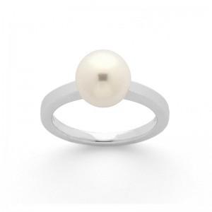 Bague Perle Akoya Japon 8 mm Or blanc