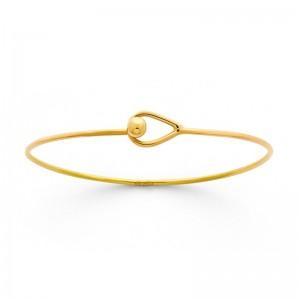 Bracelet Jonc rigide ouvrant fermoir boutonnière fil rond 1,5mm Or jaune