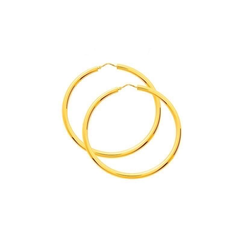 Créoles fil rond ø3,5mm système Vector Diamètre 45mm Or jaune