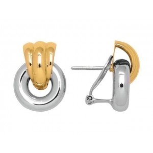 Boucles d'oreilles cercles Or jaune et Or blanc