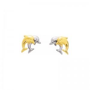 Boucles d'oreilles 2 Dauphins petits modèles 2 Ors