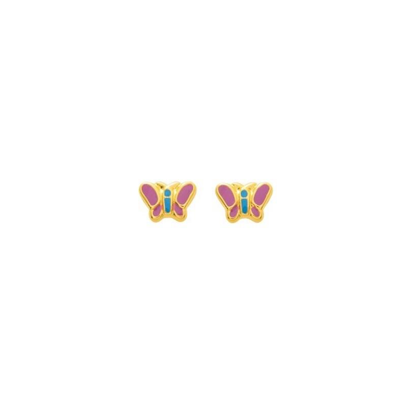 Boucles d'oreilles enfant Papillons rose et bleu Or jaune