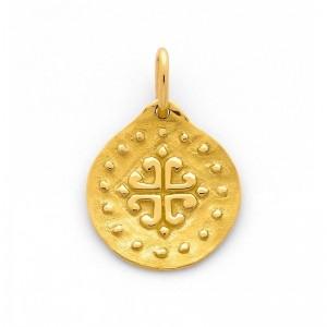 Médaille Croix aux 4 cœurs 18mm Or jaune