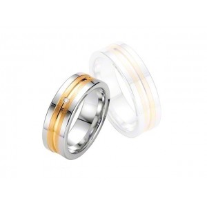 Alliance BREUNING Argent Plaqué or & Diamant 7 mm