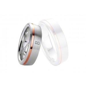 Alliance BREUNING Argent Plaqué or rose & Diamant 6,5mm