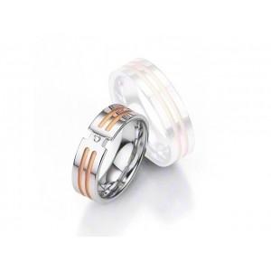 Alliance BREUNING Argent Plaqué or & Diamant 6,5mm