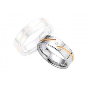 Alliance BREUNING Argent Plaqué or & Diamant 6,5mm-1