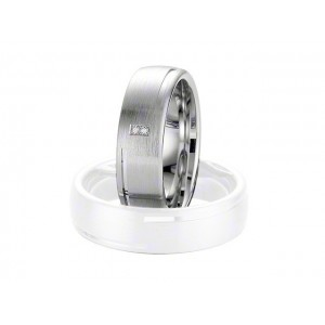 Alliance BREUNING Argent & Diamant 6,5mm-1