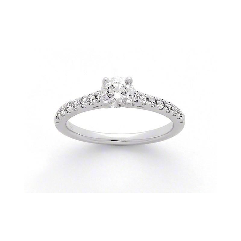 Solitaire Diamant 0,40 Carat G SI1 4 griffes accompagné 0,27 Carat Or blanc