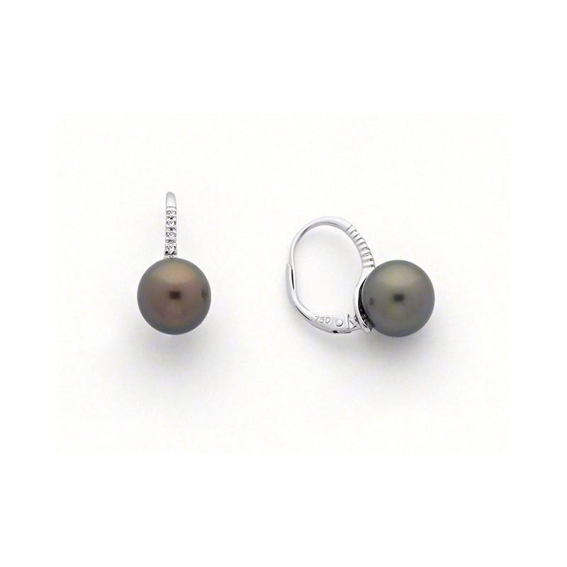 Boucles d'oreilles Perles de culture de Tahiti 8-8,5mm rondes Diamants Or blanc