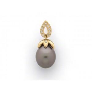 Pendentif Perle de culture de Tahiti poire 10,7 mm Diamants Or jaune