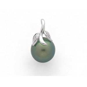 Pendentif Perle de culture de Tahiti 11,8 mm et Diamants 0,02 Carat G SI