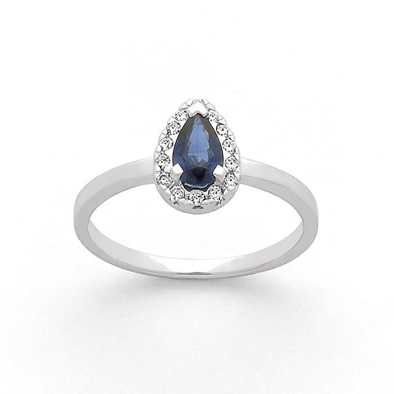 Bague Saphir 0,37 Carat entourage Diamants 0,11 Carat H SI Or blanc