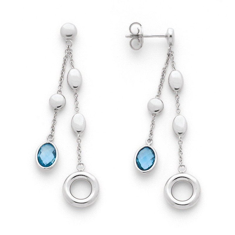 Boucles d'oreilles Topazes bleues et motifs chaine Or blanc