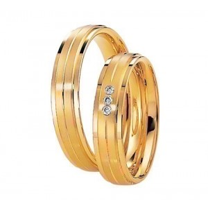 Alliance Saint MAURICE Eternity 5 mm - OR Jaune - 3 diamants