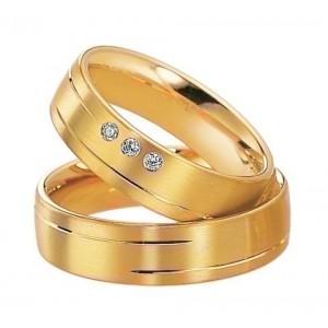 Alliance Saint MAURICE Eternity 6 mm - OR Jaune - 3 diamants