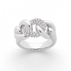 Bague Diamants 0,34 Carat G SI pavage 3 maillons Or blanc