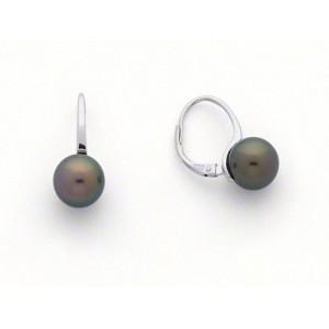 Boucles d'oreilles Perles de culture de Tahiti 7,5-8 mm rondes Or blanc