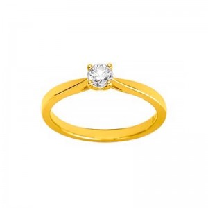 Solitaire Diamant synthétique 0,30 Carat Or jaune