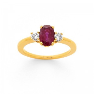 Bague Rubis 0,77 Carat et Diamants 0,20 Carat G SI Or jaune