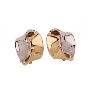 Boutons d'oreilles motifs 2 anneaux 16,5x15,5mm systèmes clips Or jaune et Or bl