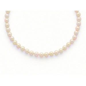 Collier Perles de culture Choker Akoya Japon Blanc-rosé 9-9,5mm Or jaune