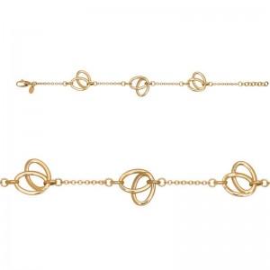 Bracelet mailles Forçat motifs Feuilles 16 mm Or jaune