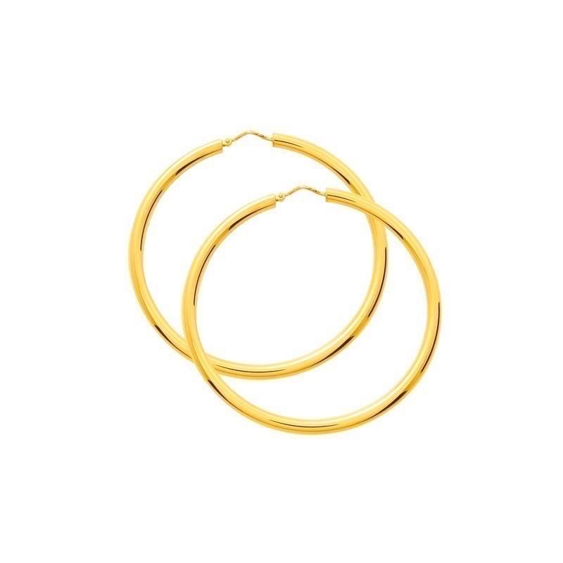 Créoles fil rond ø3,5mm système Vector Diamètre 55mm Or jaune