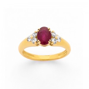 Bague Rubis 0,86 Carat et Diamants 0,19 Carat G SI Or jaune
