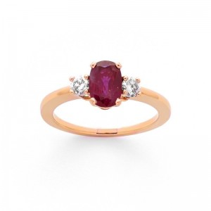 Bague Rubis 0,76 Carat et Diamants 0,19 Carat Or rose