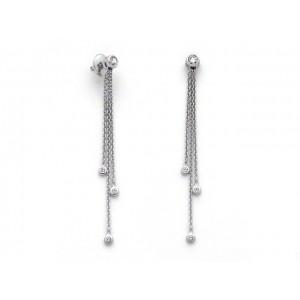 Boucles d'oreilles Diamants 0,38 Carat G VS 3 chainettes Or blanc