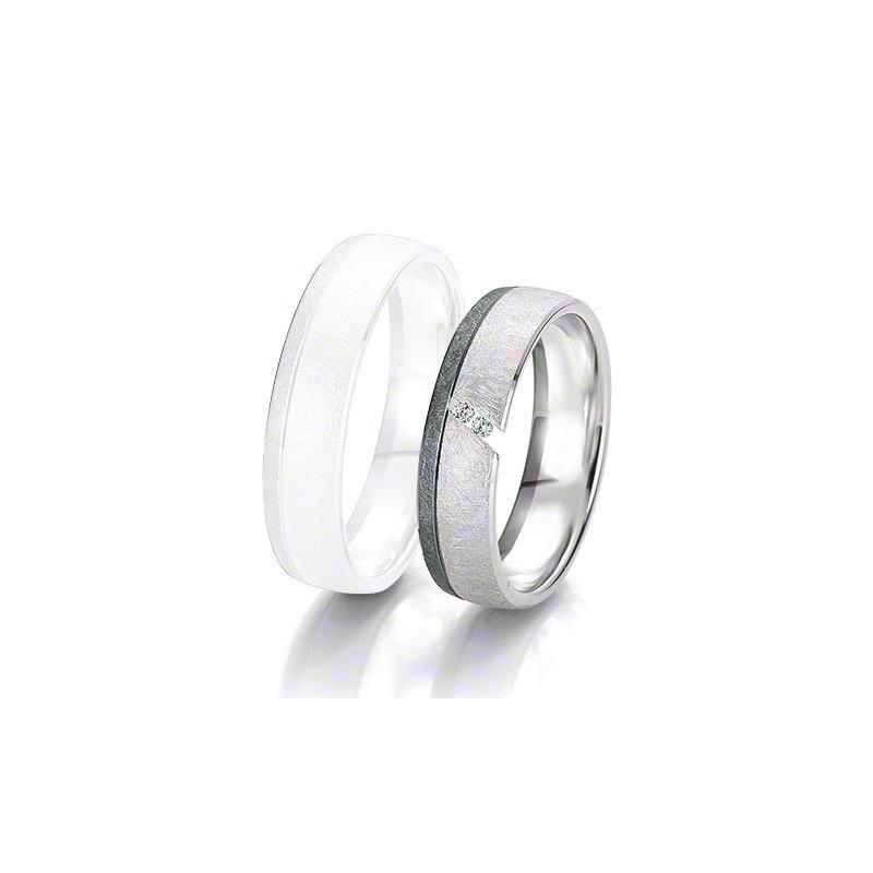 Alliance BREUNING BLACK & WHITE 5,5mm - OR Blanc & NOIR - 2 diamants