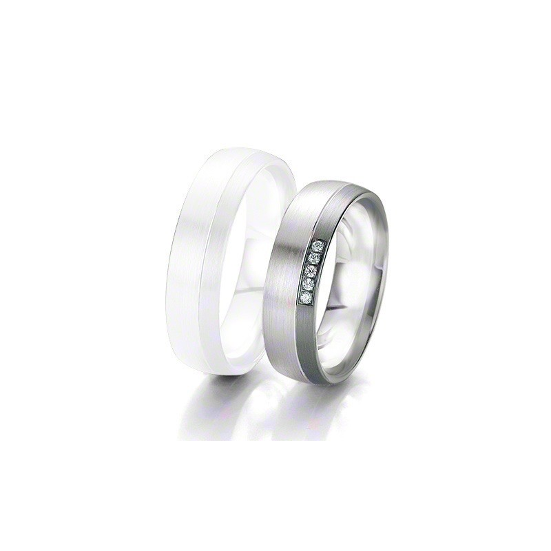 Alliance BREUNING BLACK & WHITE 6 mm - OR Blanc & NOIR - 5 diamants