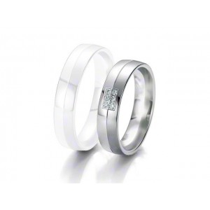 Alliance BREUNING BLACK & WHITE 5 mm - OR Blanc & NOIR - 6 diamants