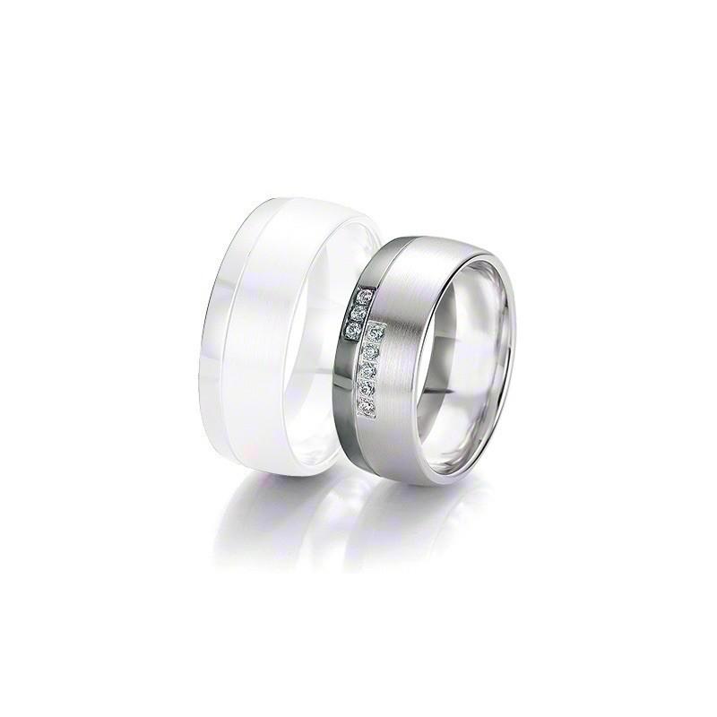 Alliance BREUNING BLACK & WHITE 8 mm - OR Blanc & NOIR - 8 diamants
