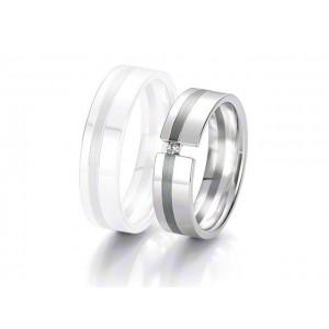 Alliance BREUNING BLACK & WHITE 6 mm - OR Blanc & NOIR - 1 Diamant