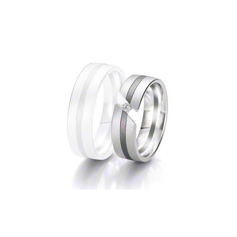 Alliance BREUNING BLACK & WHITE 6,5mm - OR Blanc & NOIR - 1 Diamant