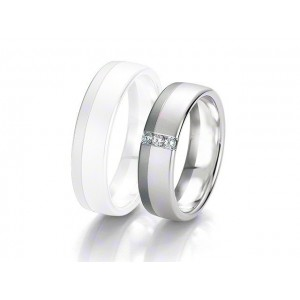 Alliance BREUNING BLACK & WHITE 6 mm - OR Blanc & NOIR - 3 diamants
