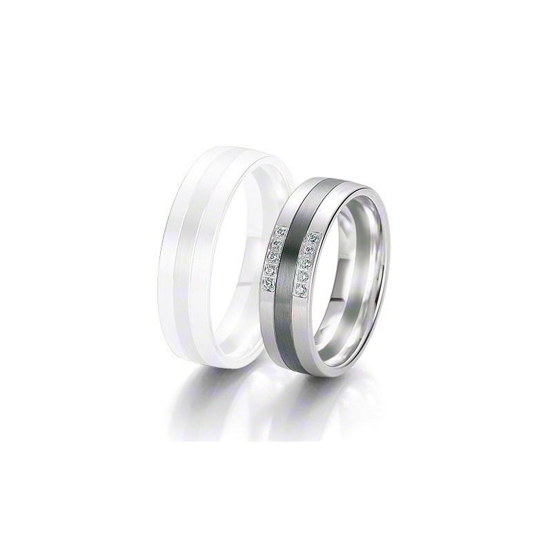Alliance BREUNING BLACK & WHITE 6 mm - OR Blanc & NOIR - 10 diamants