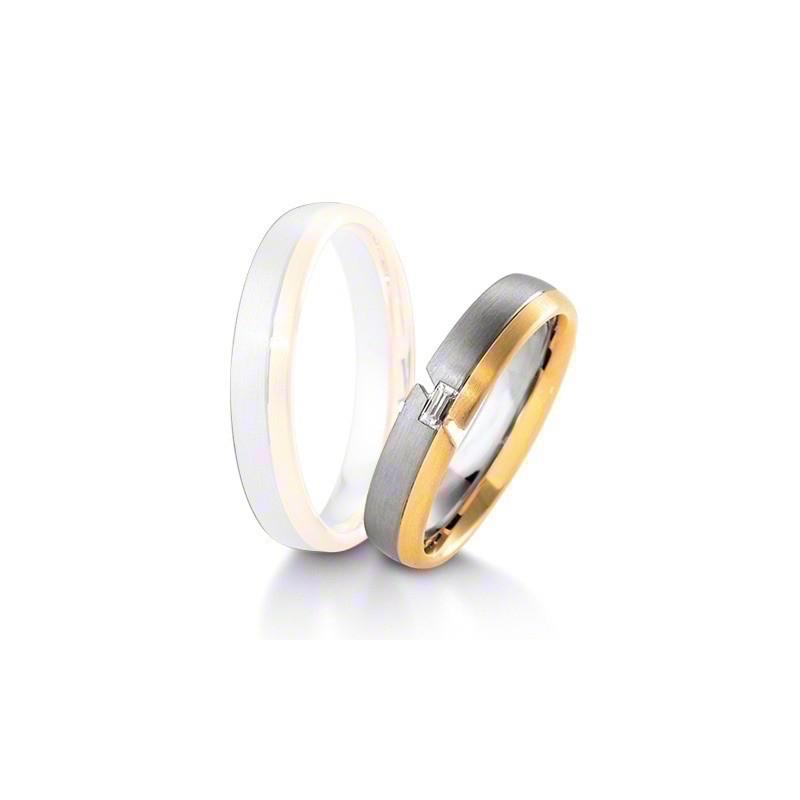 Alliance BREUNING INSPIRATION 4,5mm - OR Blanc & Jaune - 1 Diamant